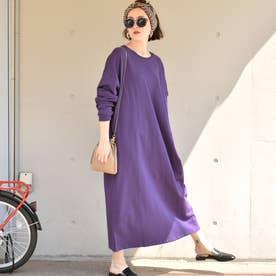 ポケット付きバルーンスリーブスウェットワンピース (Purple)