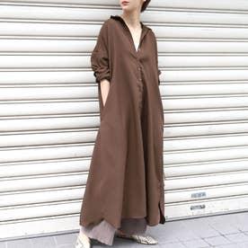 ロング丈シンプルデザインシャツワンピースcocaオリジナル (Brown)