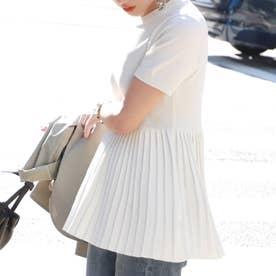 裾プリーツやわらかニットトップスcocaオリジナル (White)