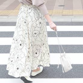 グラフィック花柄ロングスカート (White)