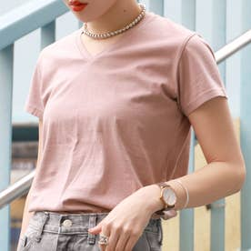 浅VネックシンプルコットンTシャツ(Pink)