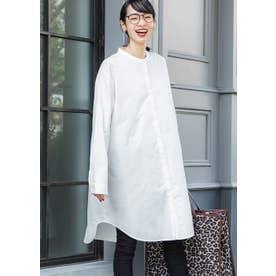シンプルバンドカラーロングシャツ(White)