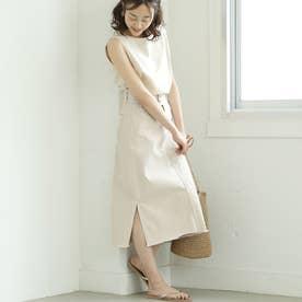 カットオフAラインサイドスリットデニムスカート(White)