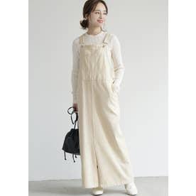 センタースリット入りチノサロペットスカート(White)
