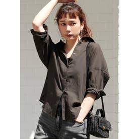 シースルードロップショルダーシャツ(Black)