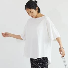 テールカット五分袖コットンカットソー(White)