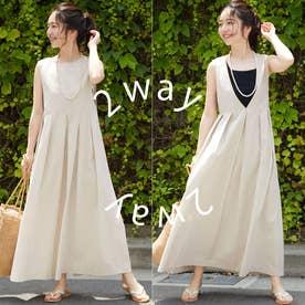 【前後2way】コットンフレアジャンパースカート(Ivory)