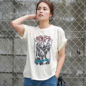 KISSバンドプリントロックTシャツ (White)
