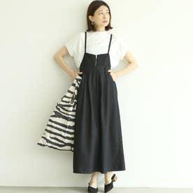 【2way】Aラインサロペットデニムスカート (Black)
