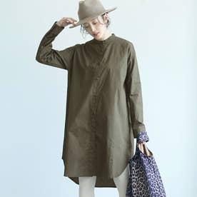 シンプルバンドカラーロングシャツ (Khaki)