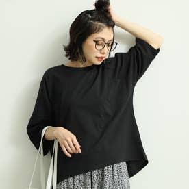 ポケット付きコットンビッグTシャツ (Black【B】)