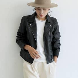 ショート丈レザージャケット (Black)