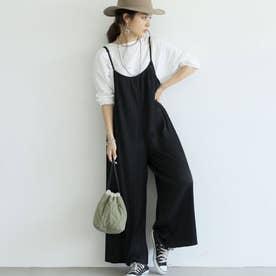 細プリーツきれいめオールインワン (Black)