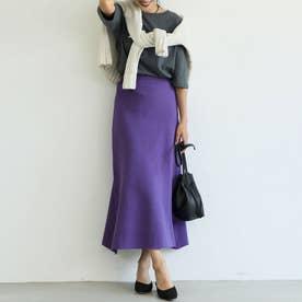 Aラインニットフレアスカート (Purple)