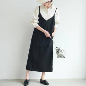 バックスリット入りIラインサロペットスカート (Black)