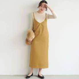 バックスリット入りIラインサロペットスカート (Mustard)