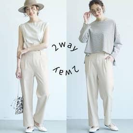 【2way】フロントジップサロペット (White)