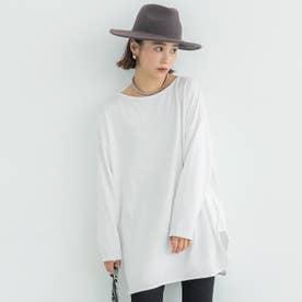 USAコットンサイドスリットロングTシャツ (White)
