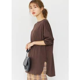USAコットンサイドスリットロングTシャツ (Brown)