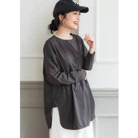 USAコットンサイドスリットロングTシャツ (Charcoal)