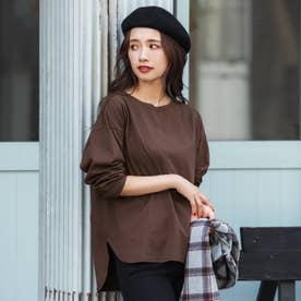 テールカットボートネックTシャツ (Brown)