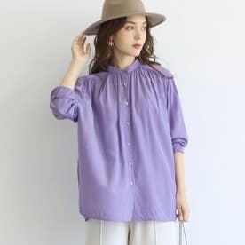ギャザーネックとろみブラウスcocaオリジナル (Purple)