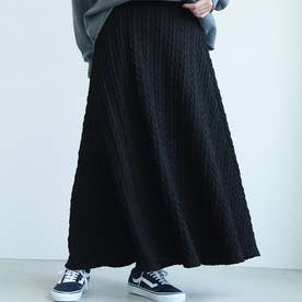 ロング丈ケーブル編みニットフレアスカートcocaオリジナル (Black)