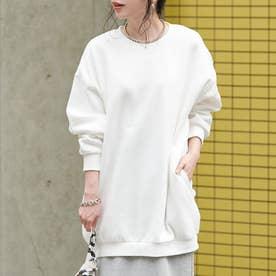ポケット付きシンプルスウェット (White)