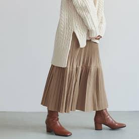 モードプリーツスカート (Beige)