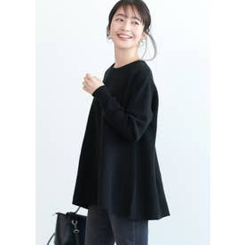 裾フレアニットトップス (Black)