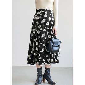 フロントボタンフラワープリントスカート (Black)