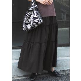 裾フレアティアードスカート (Black)