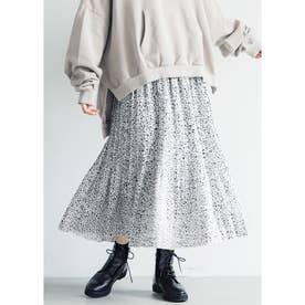 モノトーン消しプリーツスカート (White)