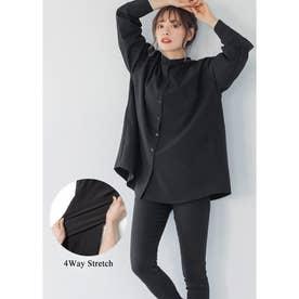 ポケット付きストレッチシャツ (Black)