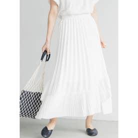 Aラインフレアプリーツスカート (White)