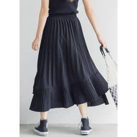 Aラインフレアプリーツスカート (Black)