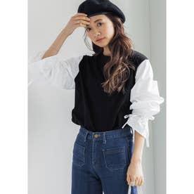 キャンディスリーブドッキングTシャツ (Black)