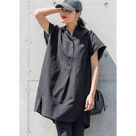 オーバーサイズ半袖シャツワンピース (Black)
