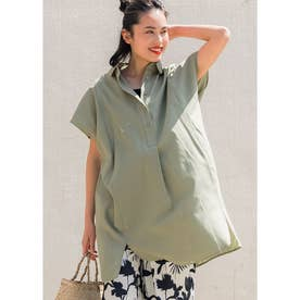 オーバーサイズ半袖シャツワンピース (Khaki)
