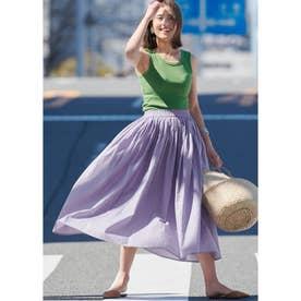 やわらかしわ感コットンフレアロングスカート (Lavender)
