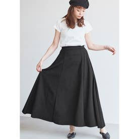 Aラインフレアロングスカート (Black)