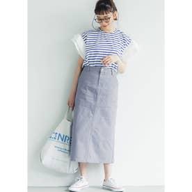 バックスリットロングスカート (Blue)