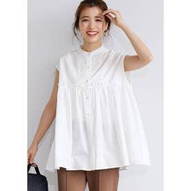 コットン切り替えギャザーシャツ (White)