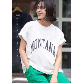 シルキーコットンカレッジプリントTシャツ (White)