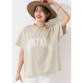 シルキーコットンカレッジプリントTシャツ (Beige)