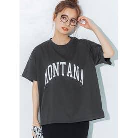 シルキーコットンカレッジプリントTシャツ (Charcoal)
