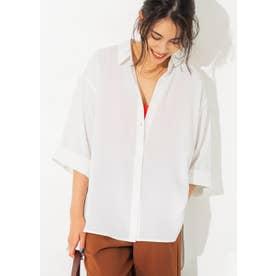 七分袖とろみルーズシャツ (White)