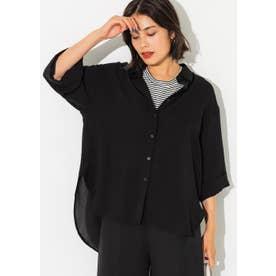 七分袖とろみルーズシャツ (Black)