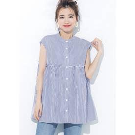 ストライプノースリーブギャザーシャツ (Stripe)