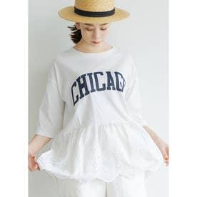 レース切り替えロゴTシャツ (White)